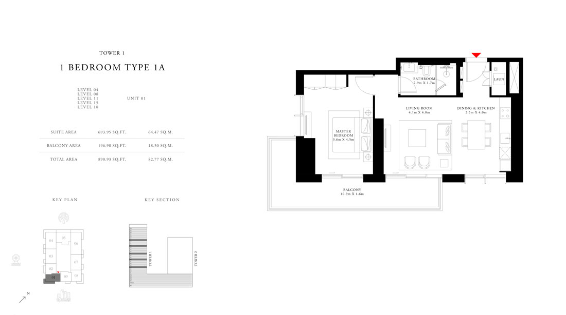 1 Bedroom Type 1A Tower 1,Size-890.53 sq.ft