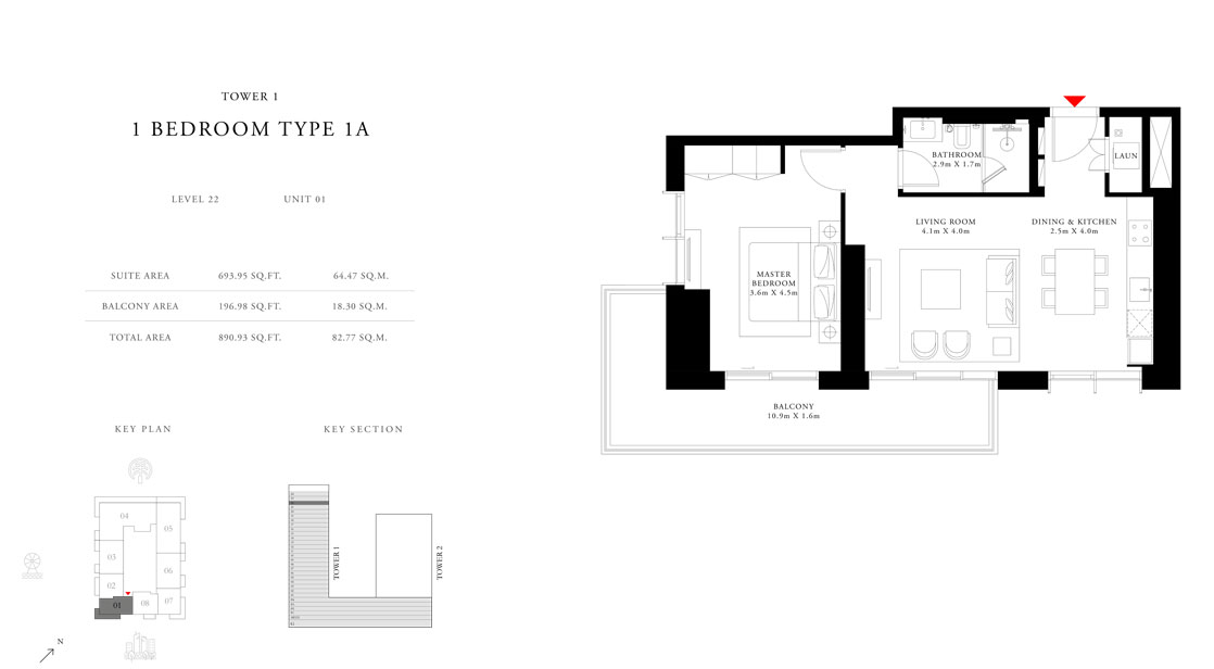 1-Bedroom-Type-1A-Tower 1,Size-890.93-sq.ft