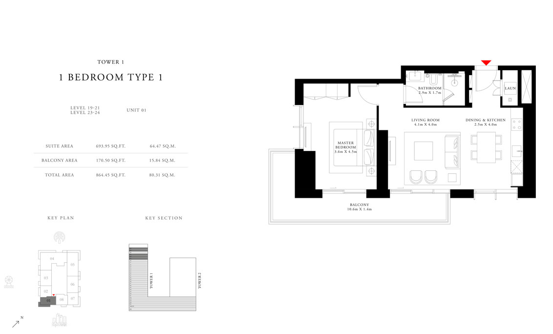 1-Bedroom-Type-1-Tower-1,Size-864.45-sq.ft