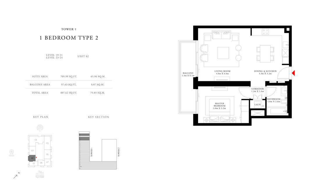 1-Bedroom-Type-2-Tower-1,Size-807.62-sq.ft