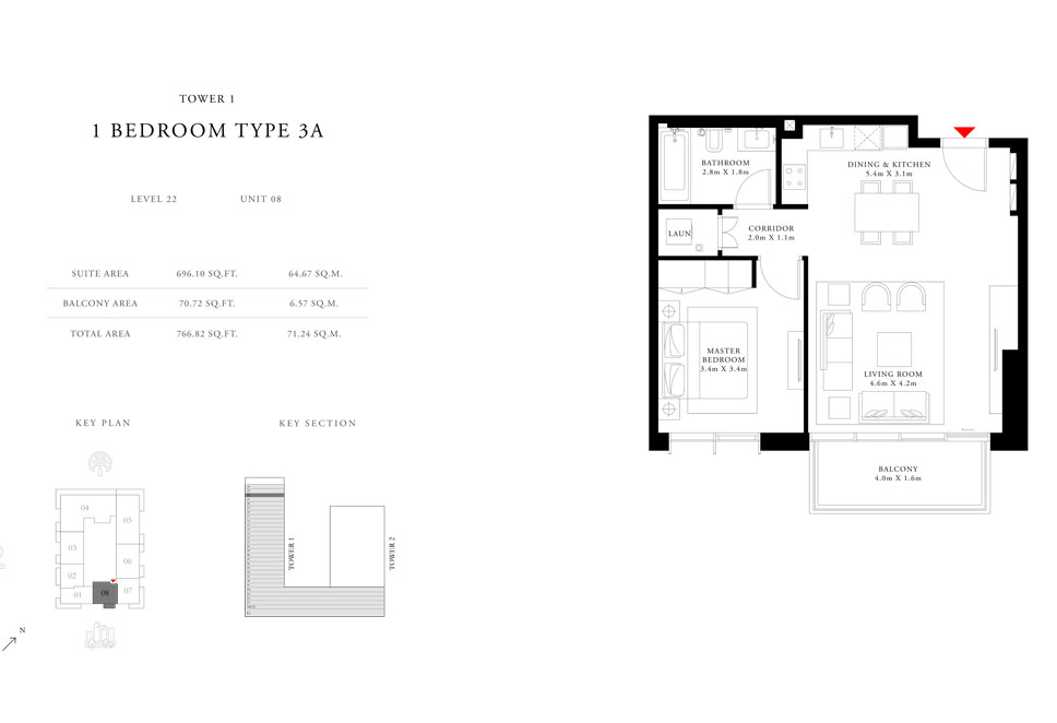 1-Bedroom-Type-3A-Tower-1,Size-766.82-sq.ft