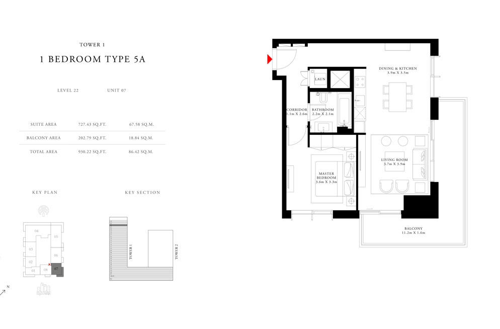1-Bedroom-Type-5A-Tower-1,Size-930.22-sq.ft