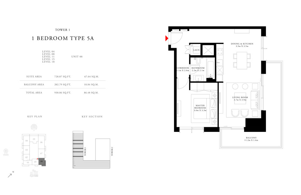 1-Bedroom-Type-5A-Tower-1,Size-930.86-sq.ft