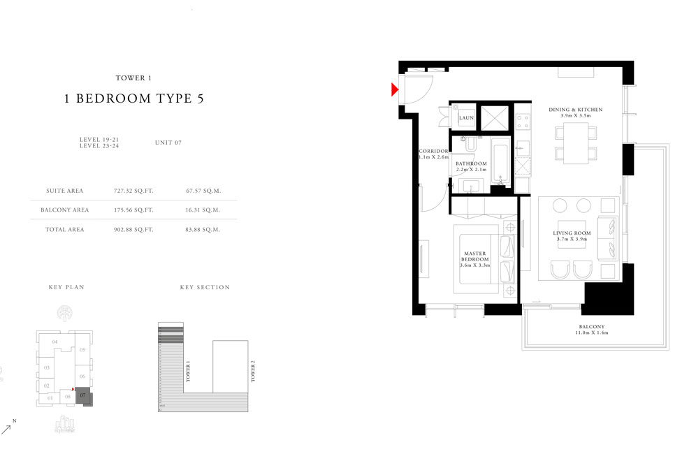 1-Bedroom-Type-5-Tower-1,Size-902.88-sq.ft