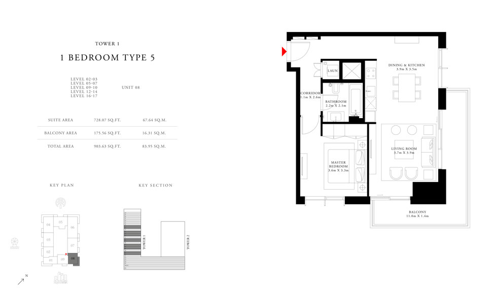 1-Bedroom-Type-5-Tower-1,Size-903.63-sq.ft
