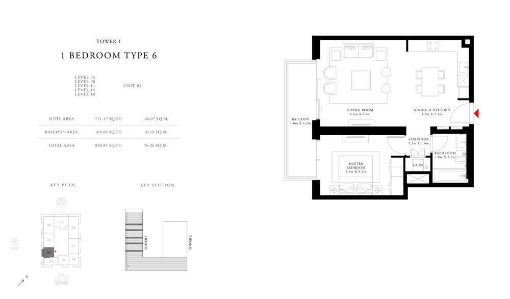 1-Bedroom-Type-6-Tower-1,Size-820.85-sq.ft