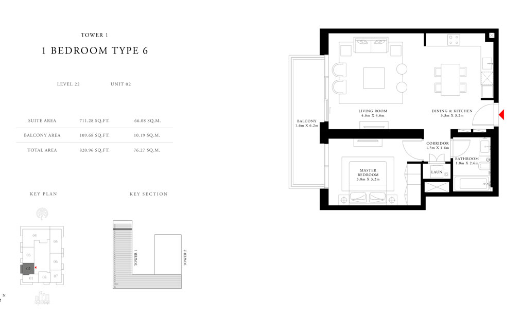 1-Bedroom-Type-6-Tower-1,Size-820.96-sq.ft