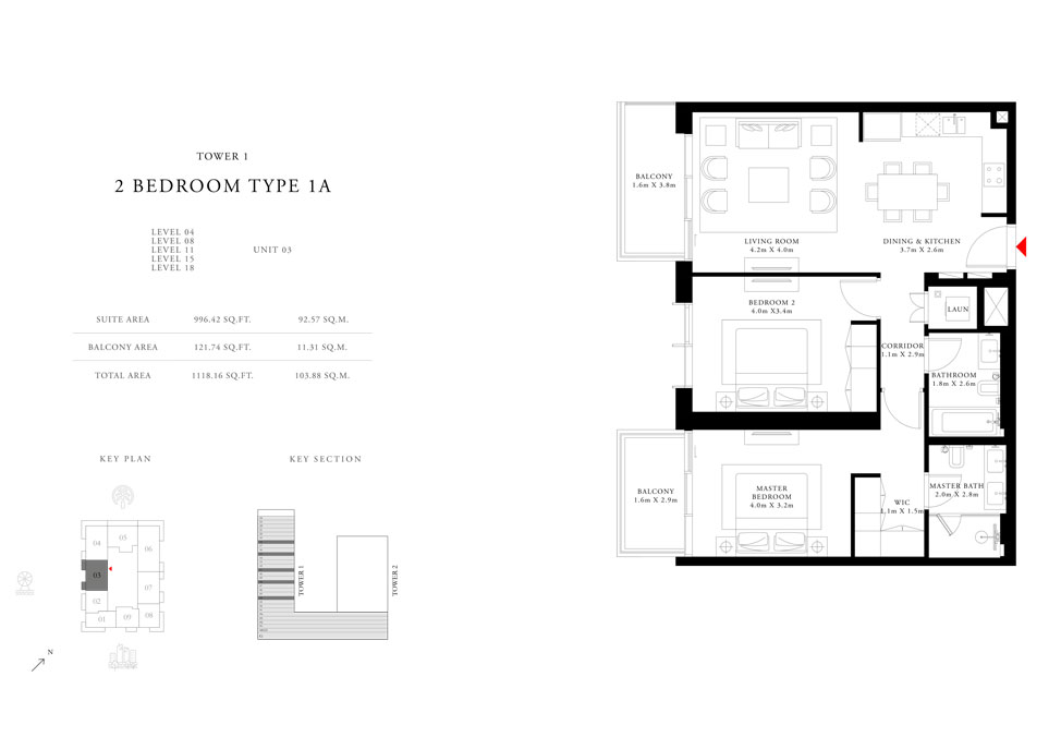 2-Bedroom-Type-1A-Tower-1,Size-1118.16-sq.ft