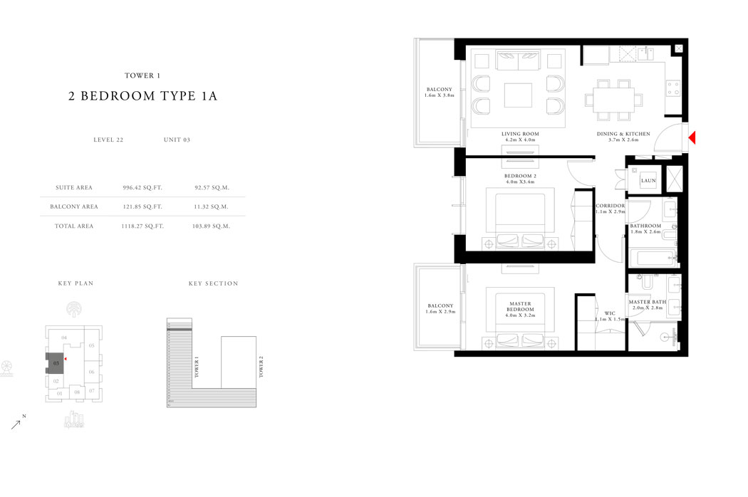 2-Bedroom-Type-1A-Tower-1,Size-1118.27-sq.ft