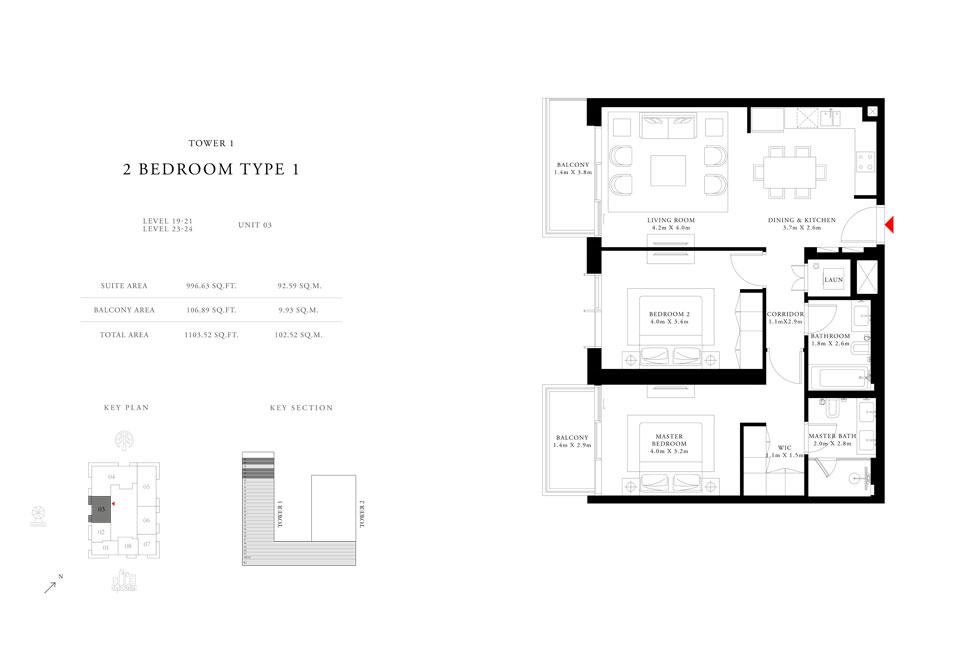 2-Bedroom-Type-1-Tower-1,Size-1103.52-sq.ft