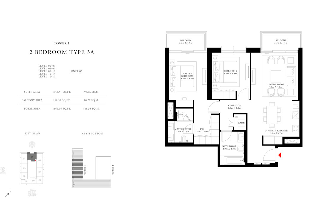 2-Bedroom-Type-3A-Tower-1,Size-1166.06-sq.ft