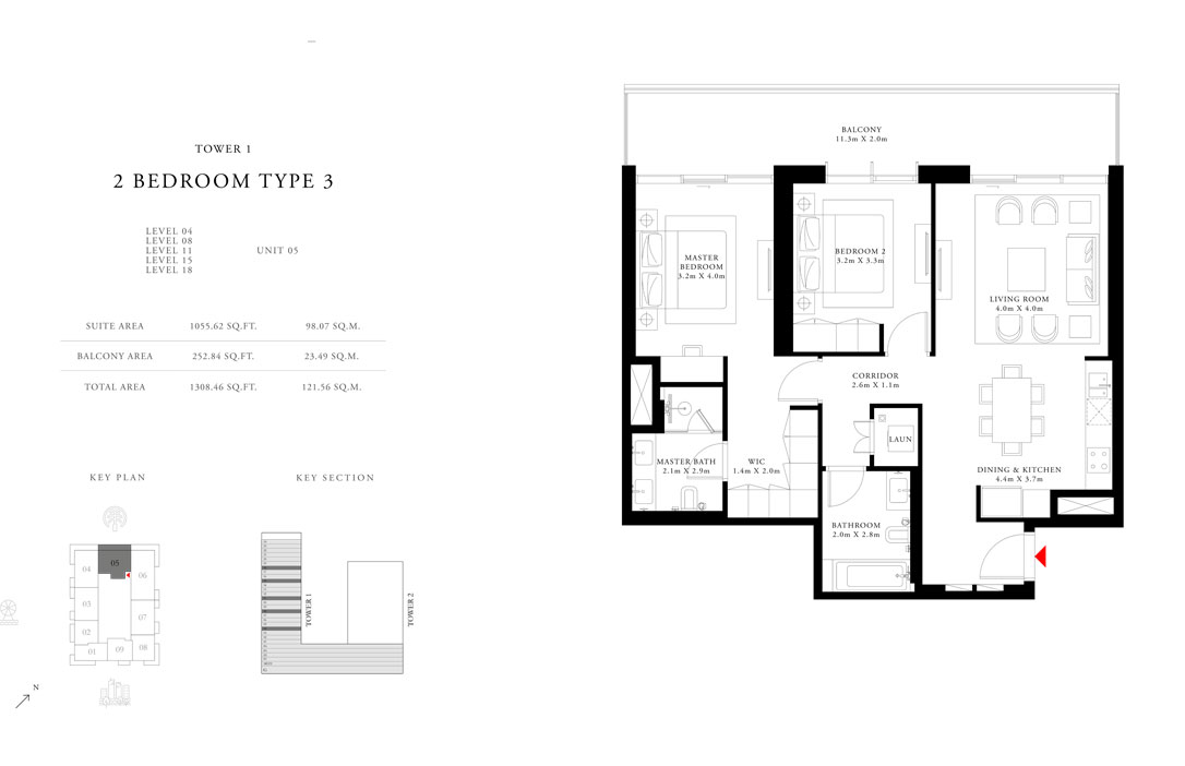 2-Bedroom-Type-3-Tower-1,Size-1308.46-sq.ft