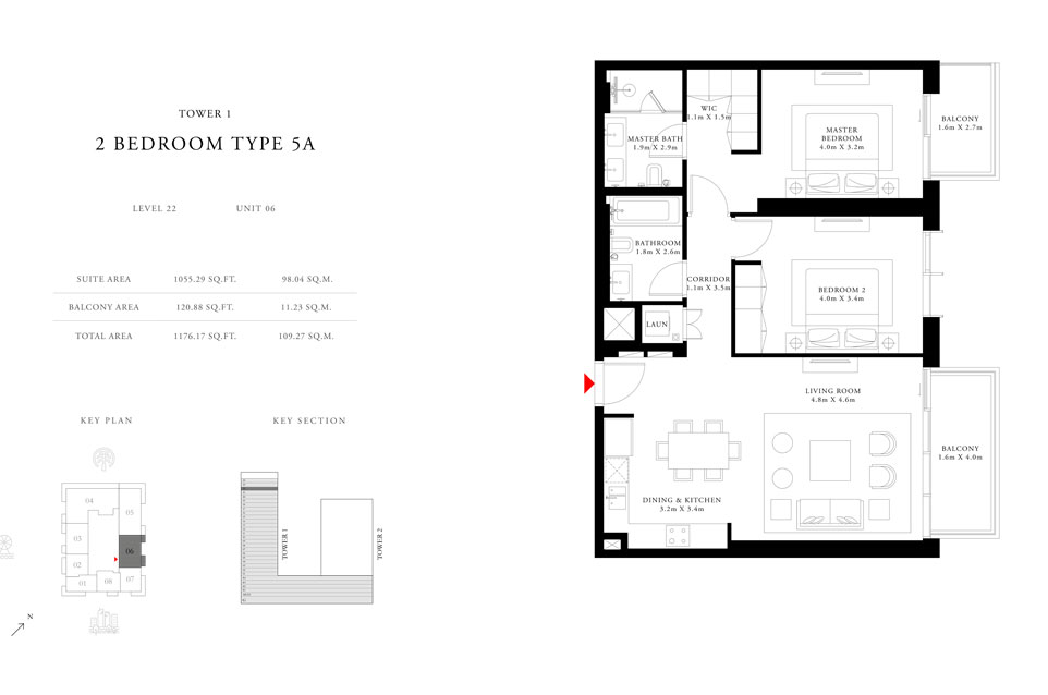 2-Bedroom-Type-5A-Tower-1,Size-1176.17-sq.ft