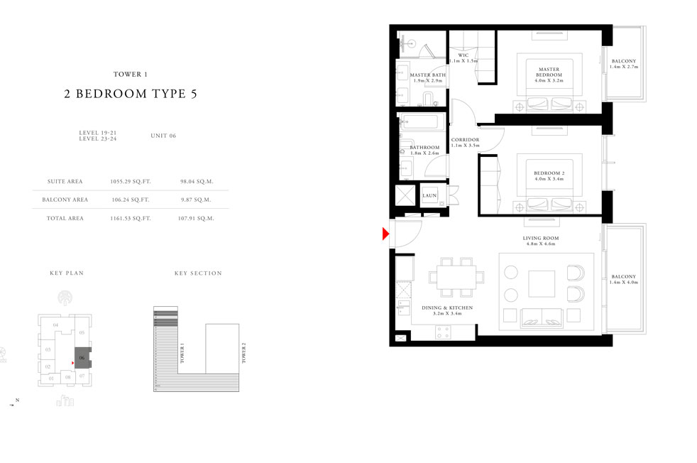 2-Bedroom-Type-5-Tower-1,Size-1161.53-sq.ft