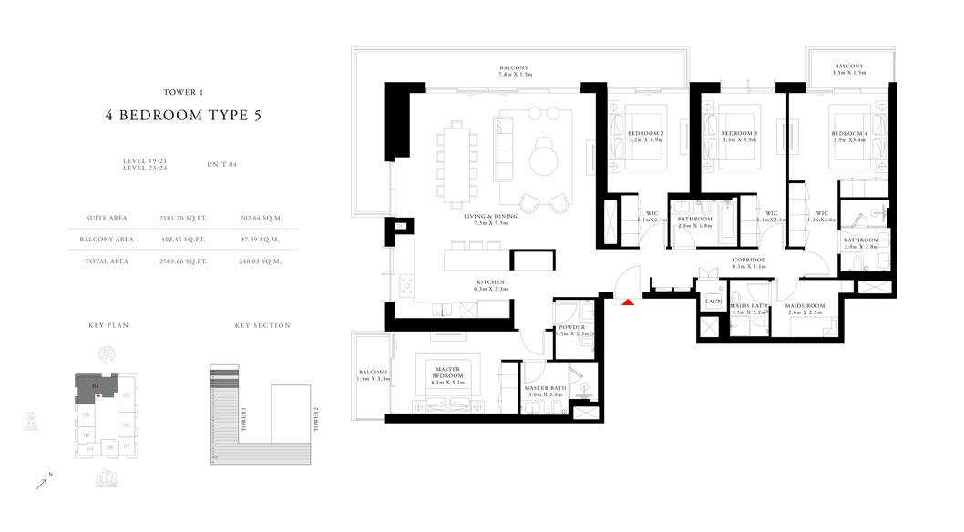 4-Bedroom-Type-5-Tower-1,Size-2583.66-sq.ft
