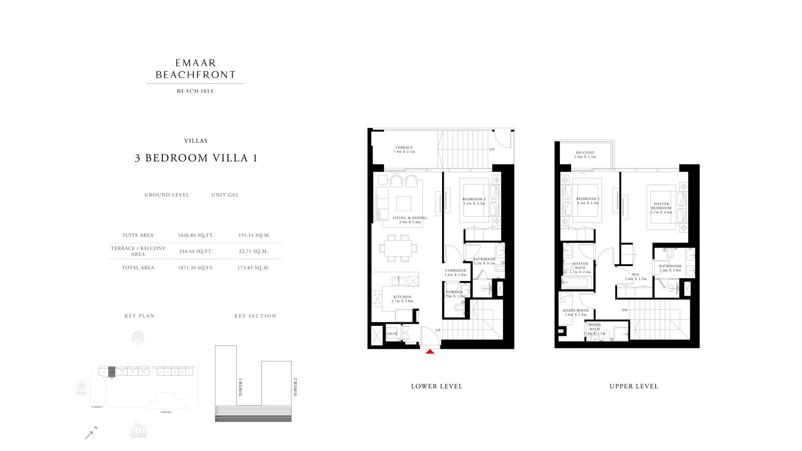 3 Bedroom Villas 1, Size 1871 sq ft