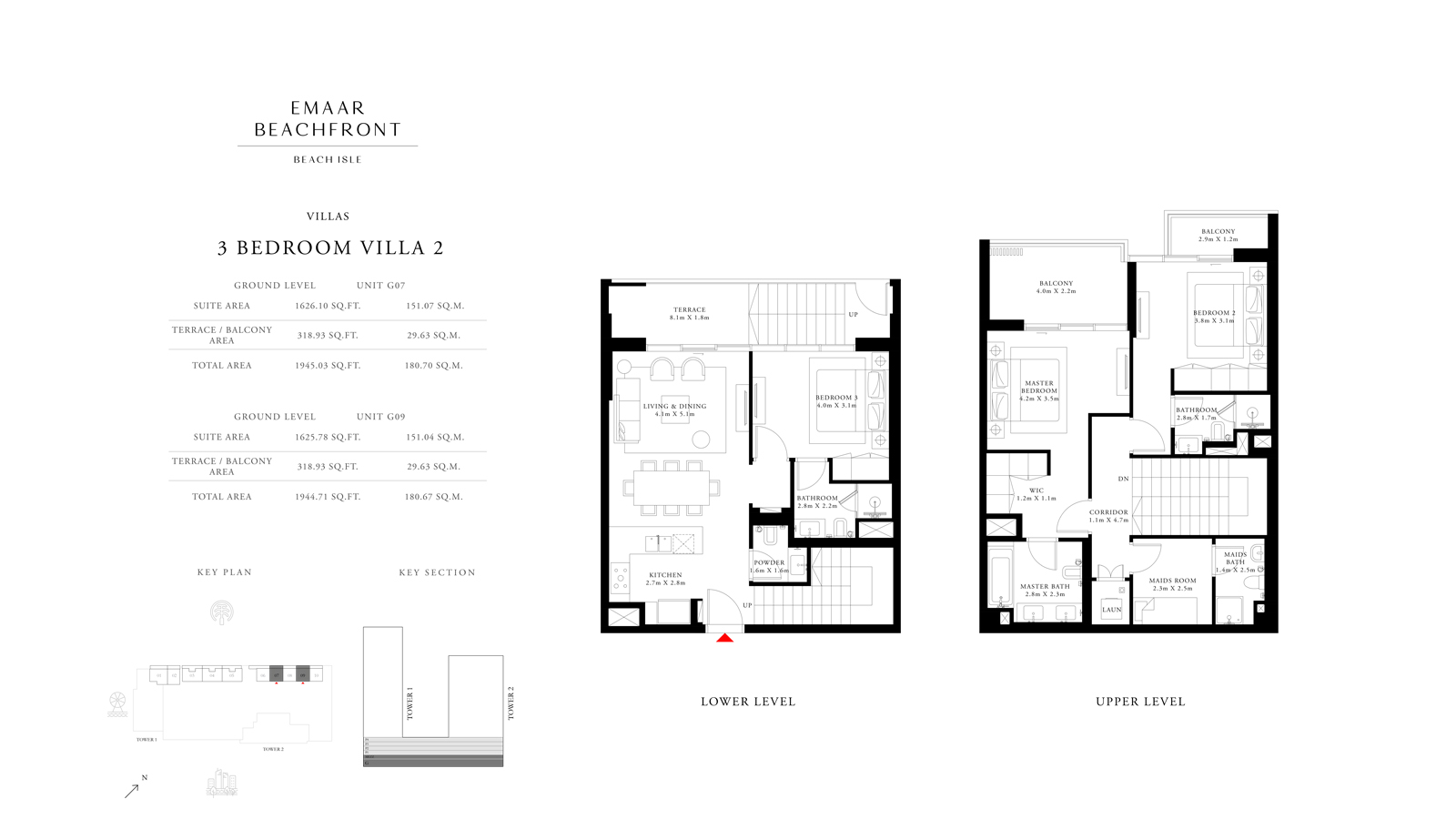 3 Bedroom Villas 2, Size 1944 sq ft