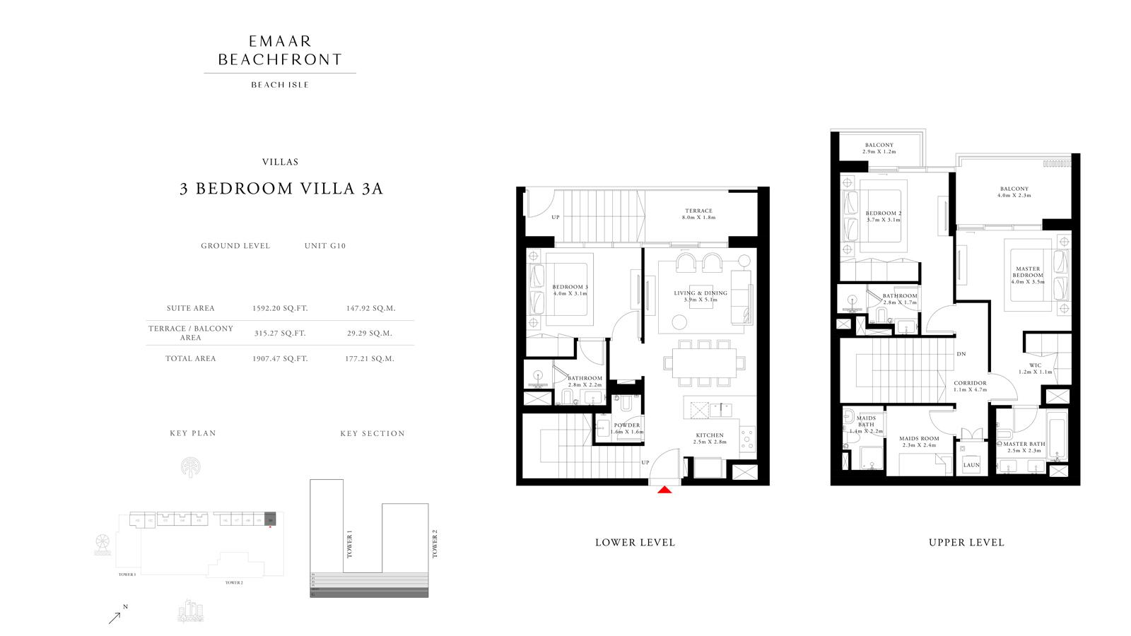 3 Bedroom Villas 3A, Size 1907 sq ft