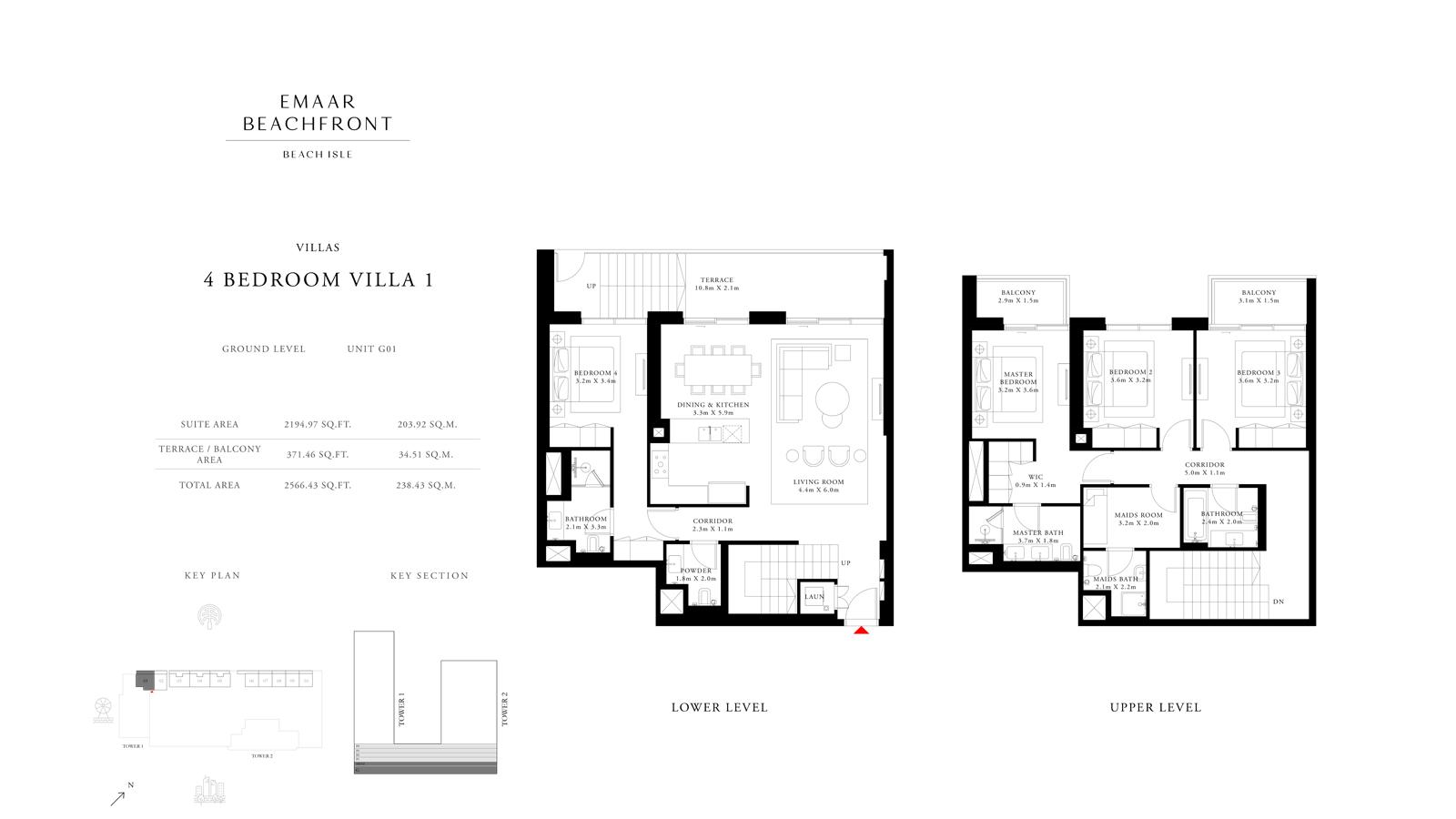 4 Bedroom Villas 1, Size 2566 sq ft