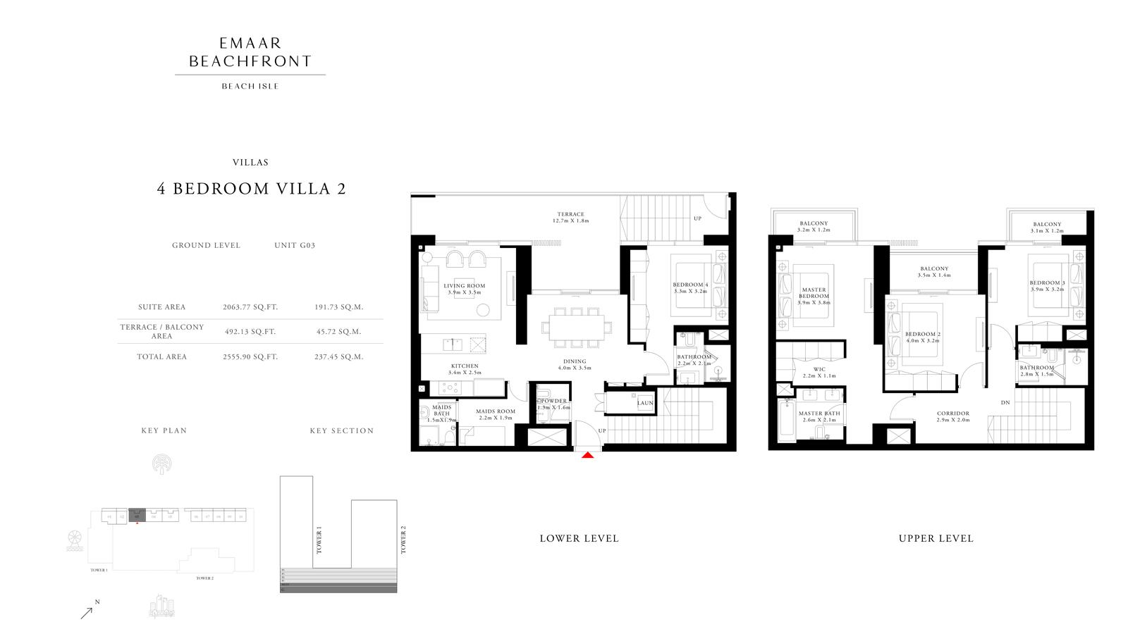 4 Bedroom Villas 2, Size 2555 sq ft