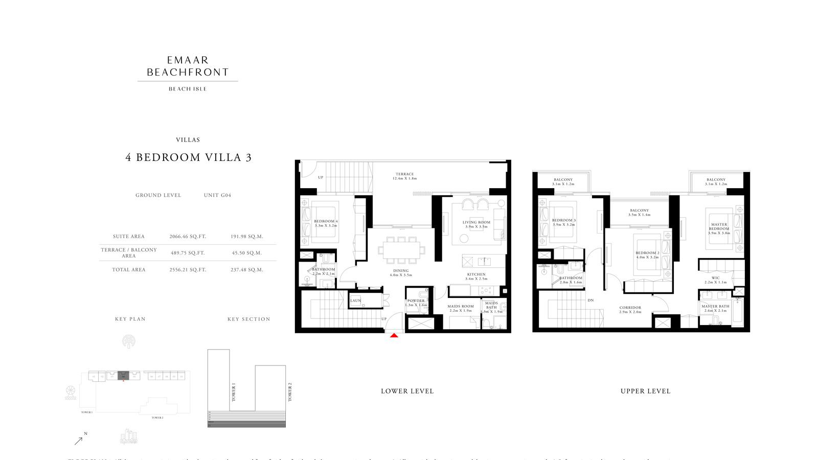 4 Bedroom Villas 3 Size 2556 sq ft