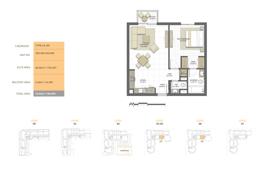 1 Bedroom ,Type 1A-3M,Size-784.9 sq.ft