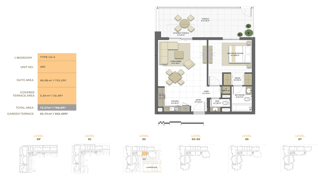 1 Bedroom ,Type 1A-5,Size-788.6 sq.ft