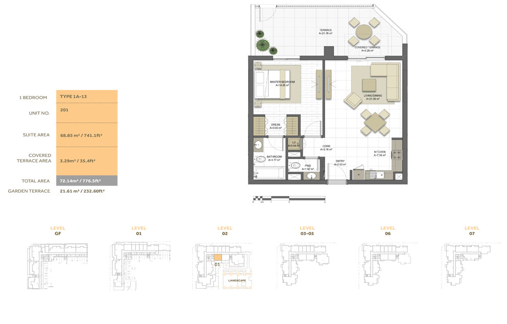 1 Bedroom ,Type 1A-13,Size-776.5 sq.ft