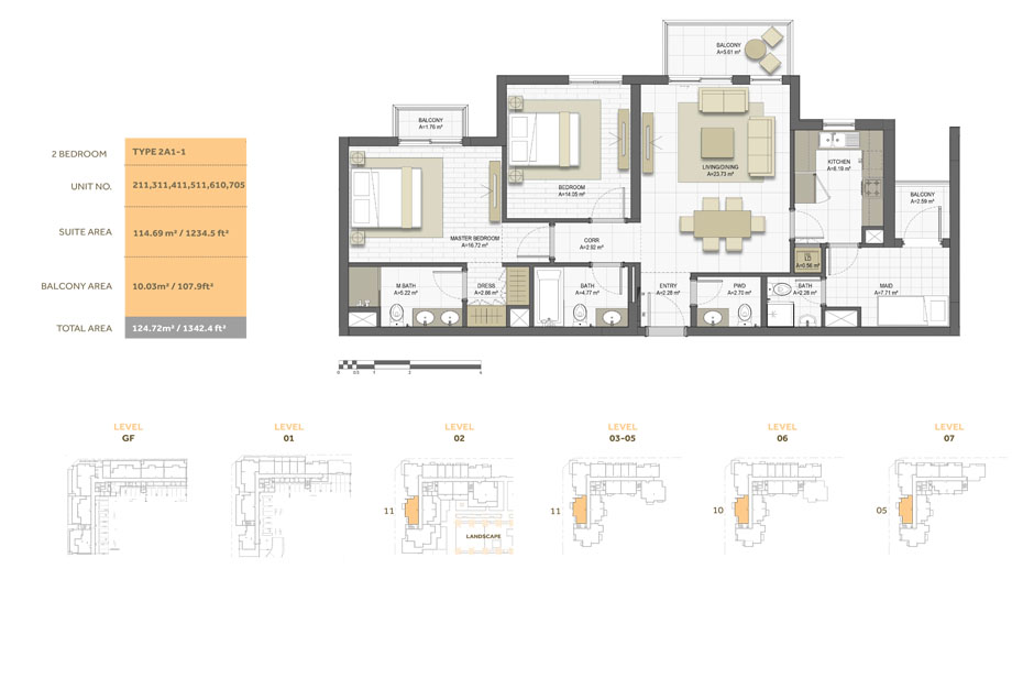 2 Bedroom ,Type 2A1-1,Size-1342.4 sq.ft
