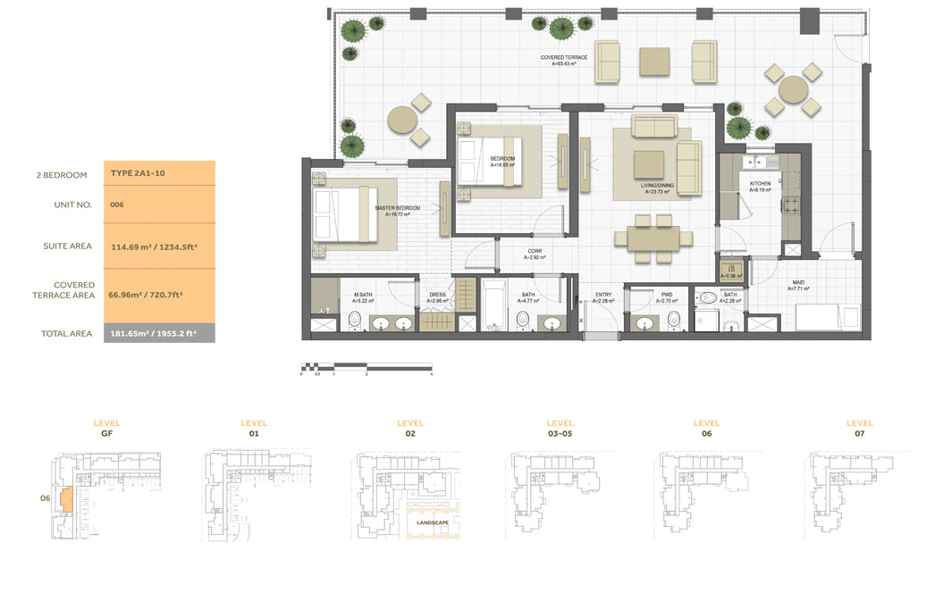 2 Bedroom ,Type 2A1-10,Size-1995.2 sq.ft