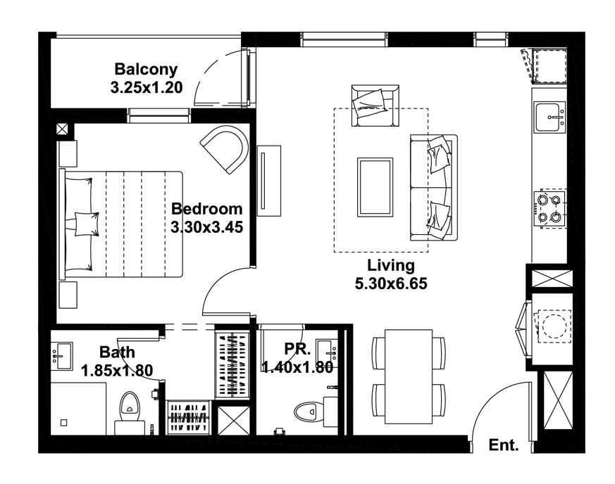 1-BR, Type-B, Level-1, Size-658 Sq.ft