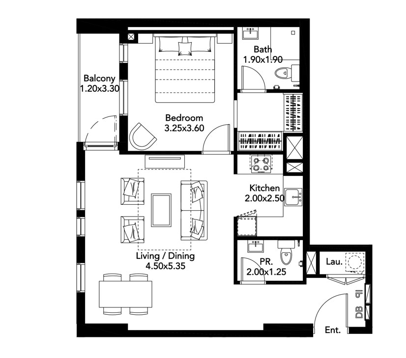 1-BR, Type-A, Level-2-9, Size-735 Sq.ft