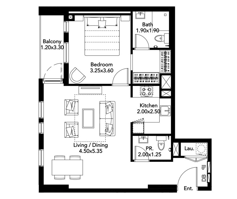 1-BR, Type-A, Level-2-8, Size-735 Sq.ft