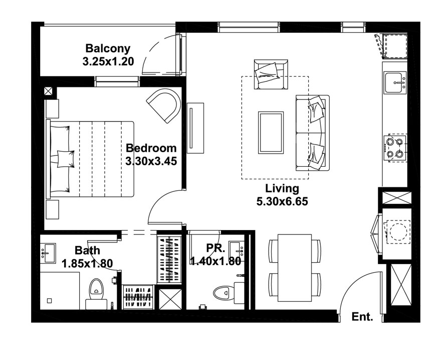 1-BR, Type-B, Level-1, Size-661 Sq.ft