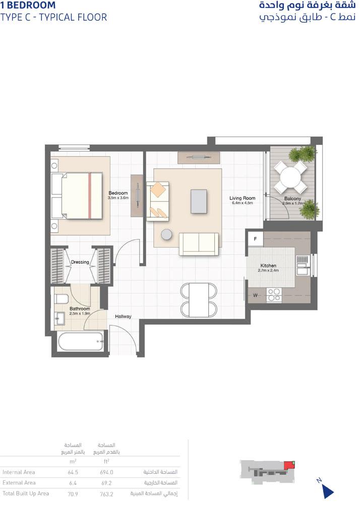 1-Bedroom, Type-C ,Typical-Floor ,Size-763.2-Sq-Ft