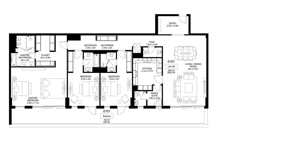 Mamsha-A1-01-01 ,3 Bed-294.00 sq.mt