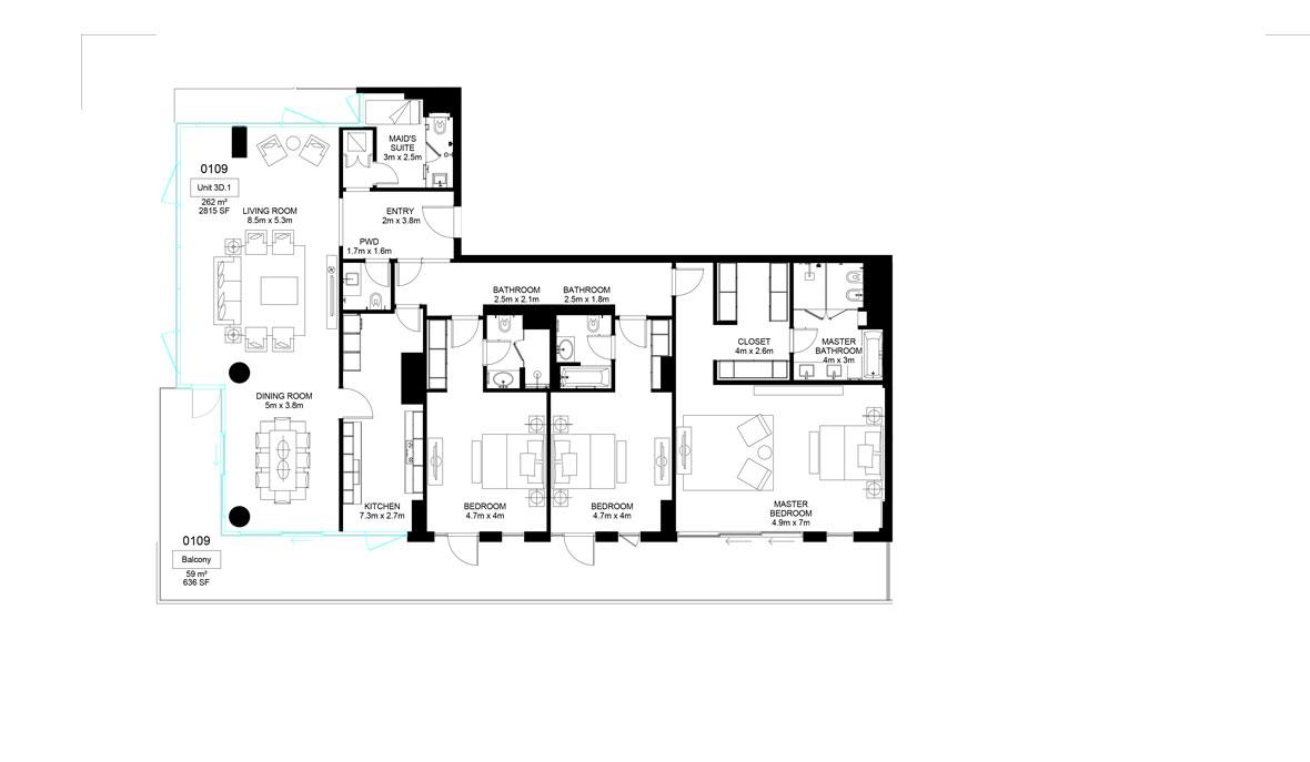 Mamsha-A1-01-09 ,3 Bed-321.00 sq.mt