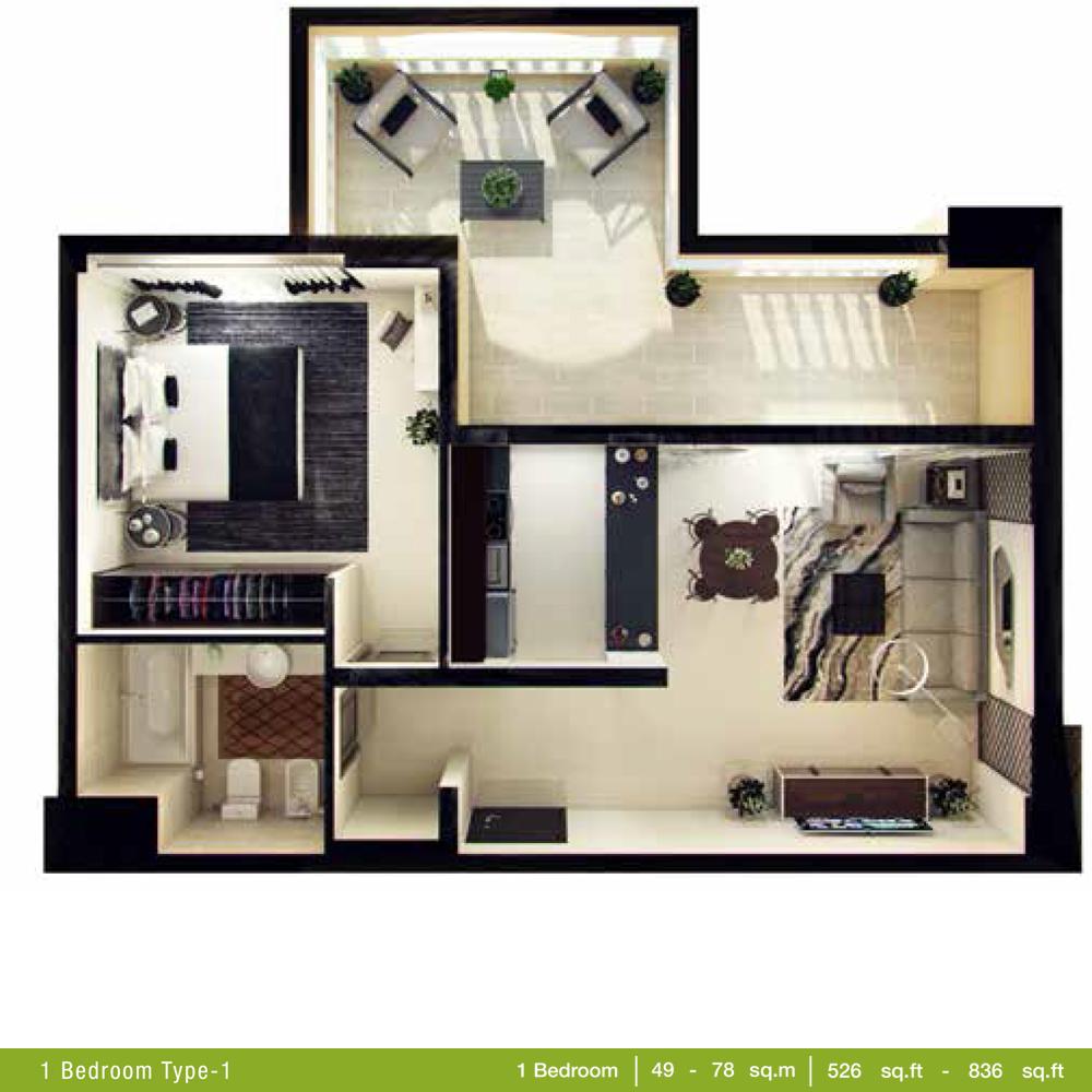 1 Bedroom Type 1, Size 526 - 836 Sq Ft