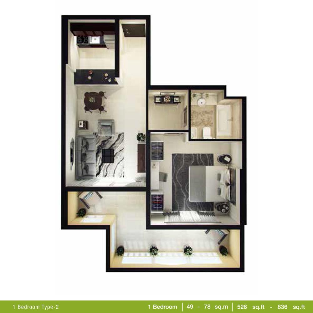 1 Bedroom Type 2, Size 526 - 836 Sq.ft