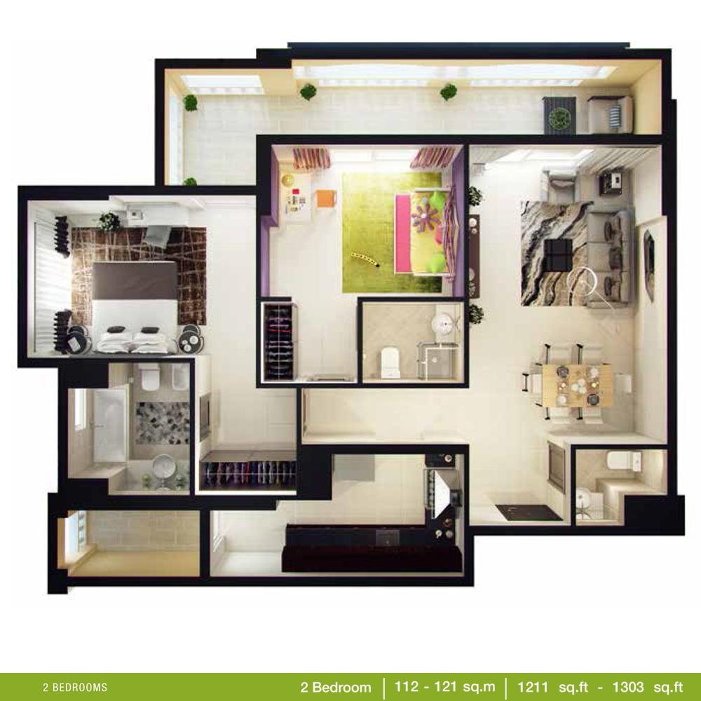 2 Bedroom Size 1211 - 1303 Sq.ft