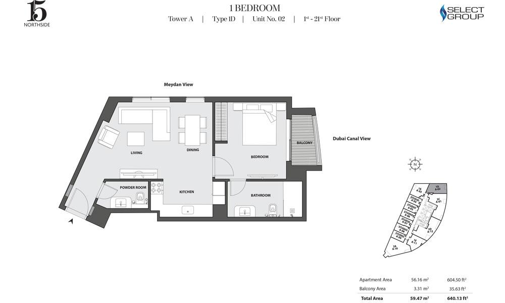 Tower A, 1 Bedroom, Type 1D, Unit 02, 1st-21st Floor