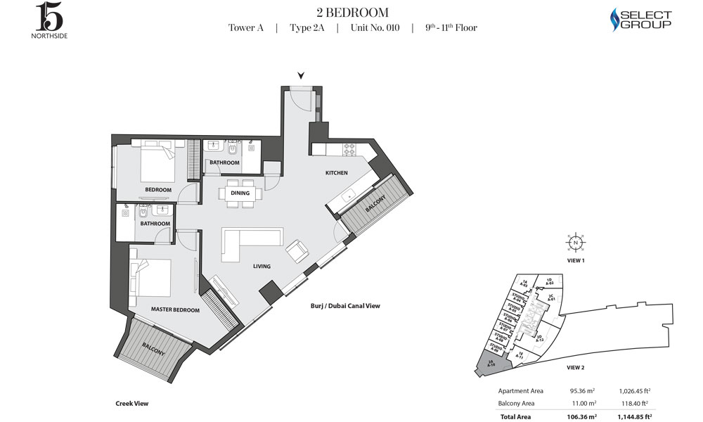 Tower A, 2 Bedroom, Type 2A, Unit 10, 9th-11th Floor