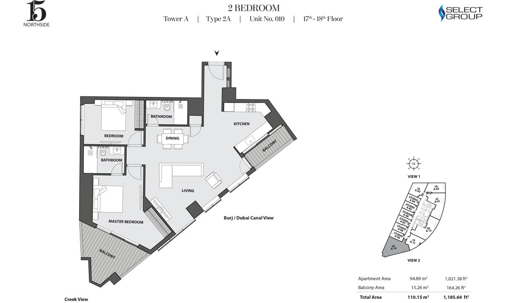 Tower A, 2 Bedroom, Type 2A, Unit 10, 17th-18th Floor