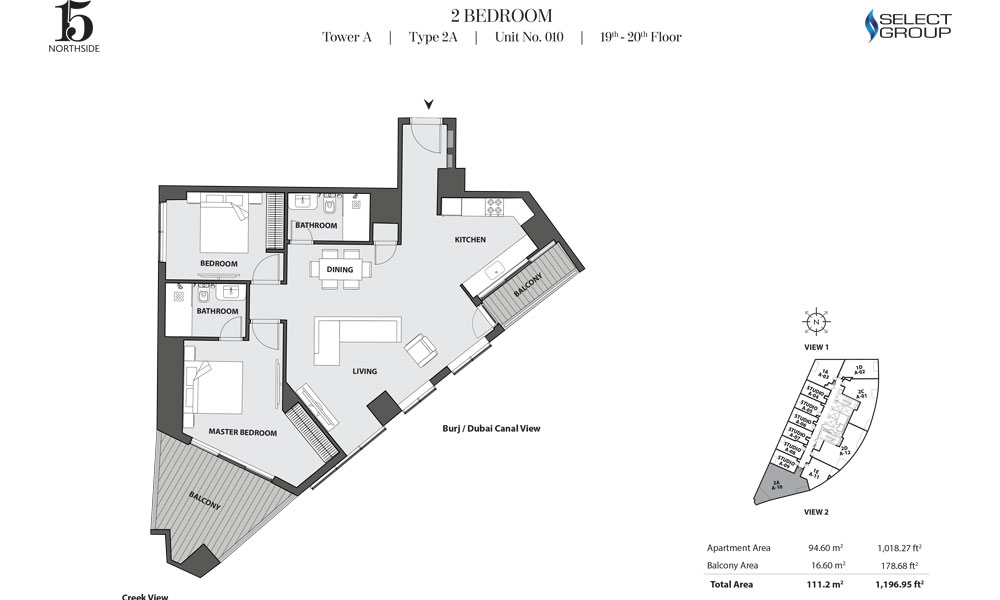 Tower A, 2 Bedroom, Type 2A, Unit 10, 19th-20th Floor