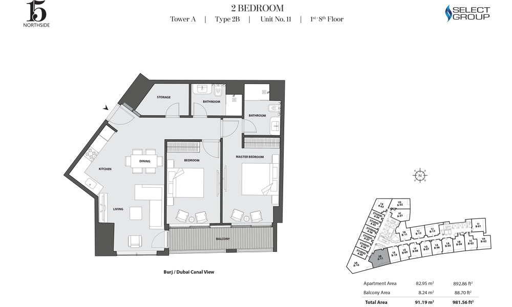 Tower A, 2 Bedroom, Type 2B, Unit 11, 1st-8th Floor