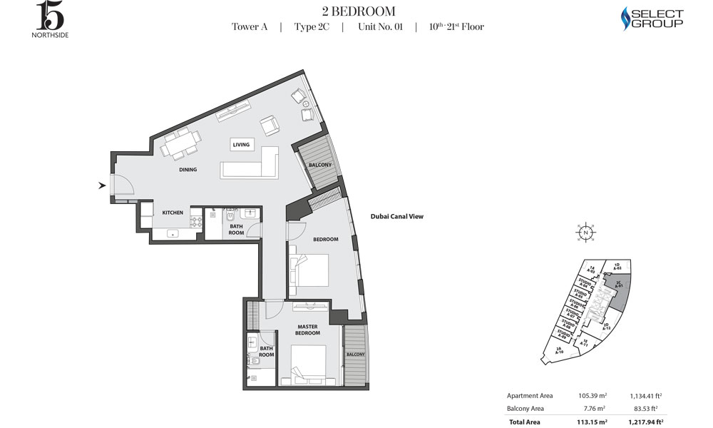 Tower A, 2 Bedroom, Type 2C, Unit 01, 10th-21st Floor