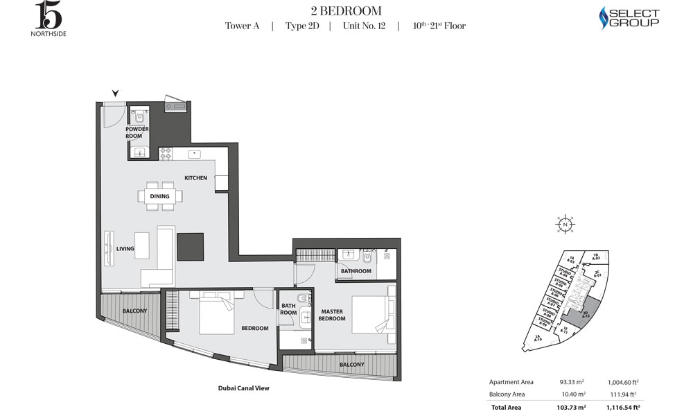 Tower A, 2 Bedroom, Type 2D, Unit 12, 10th-21st Floor
