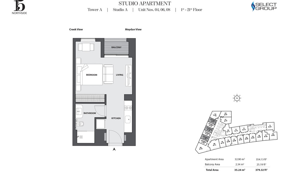 Tower A, Studio-A, Unit 04,06,08, 1st-21st Floor