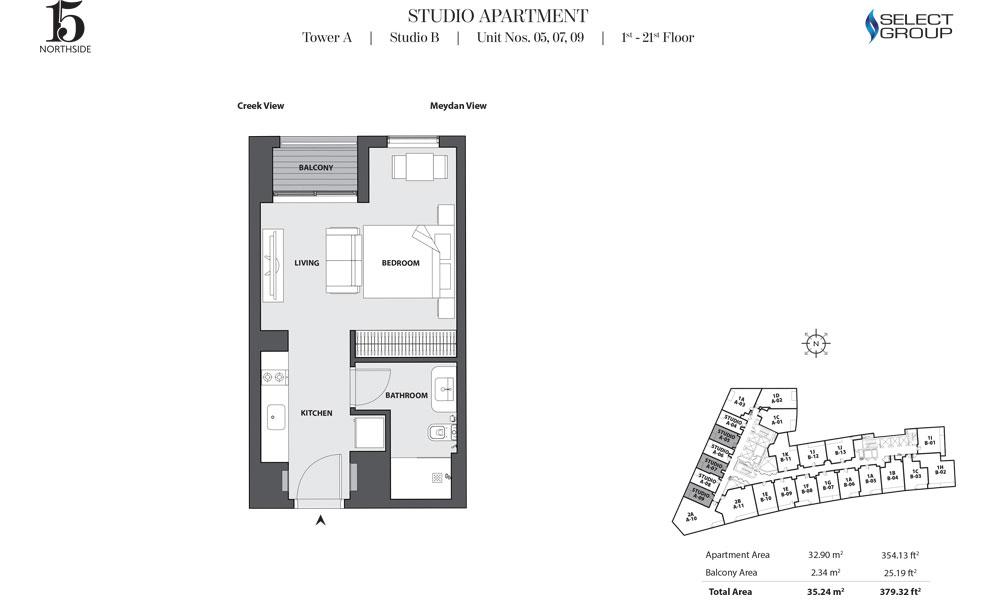 Tower A, Studio-B, Unit 05,07,09, 1st-21st Floor