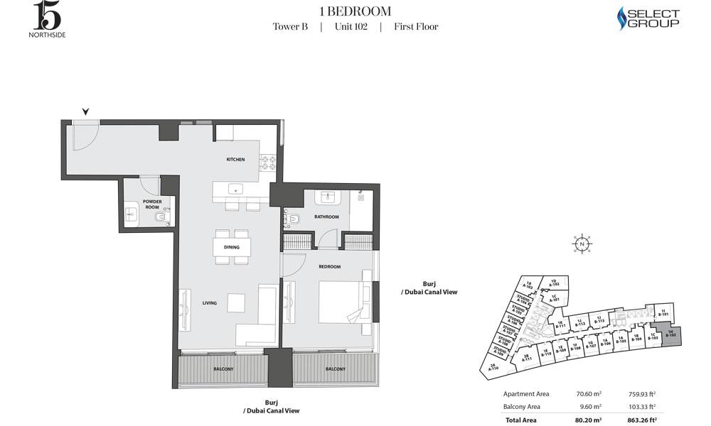 Tower B, 1 Bedroom, Unit 102, First Floor